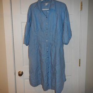 Soft Surroundings Blue Linen Midi Dress Size 1X